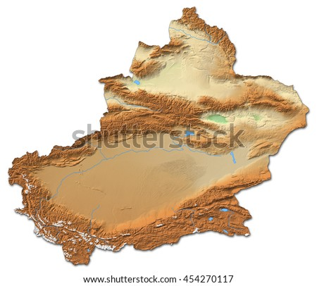 Relief map - Xinjiang (China) - 3D-Rendering - stock photo