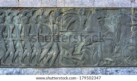 Relief of Alexander the Great ,Thessaloniki city in Greece  - stock photo