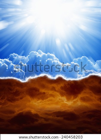 Religious background - blue sky with bright sun, dark red clouds, heaven and hell - stock photo
