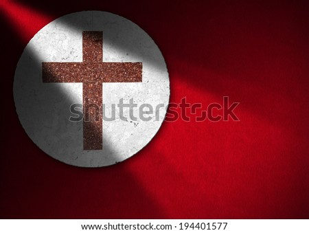 Religious Background - Marble Cross / Cross in red and white marble on red velvet background with shadows - Christian religion background - stock photo