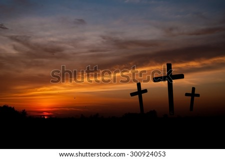 Religious background of Good Friday, three crosses on the hill. - stock photo