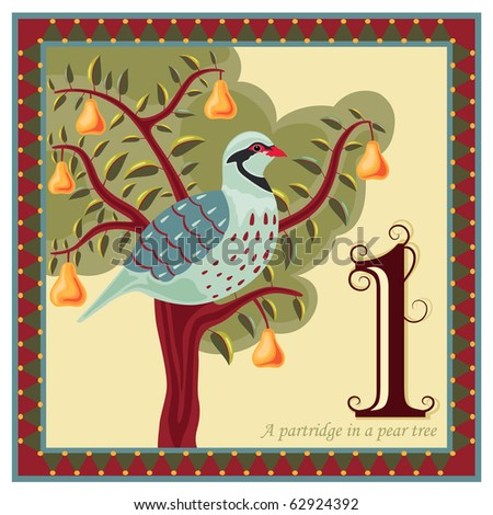Religious card with The 12 Days of Christmas - 1-st day - A partridge in a pear tree. - stock photo