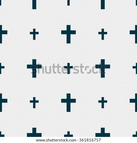 religious cross, Christian icon sign. Seamless pattern with geometric texture. illustration - stock photo