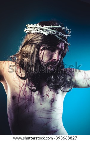 religious, Easter jesus christ, son of god representation with crown of thorns and wounds of Calvary skin - stock photo