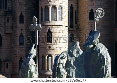 Religious sculptures in the palace of Gaudi, Astorga Spain - stock photo