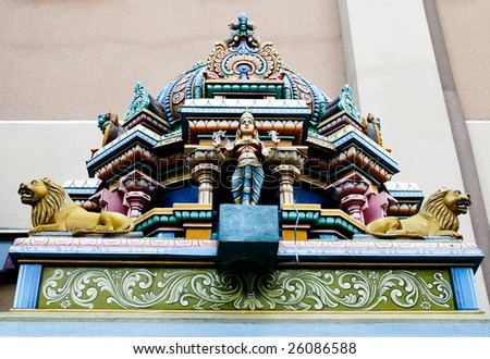 Religious statue at a temple in Kuala Lumpur, Malaysia - travel and tourism. - stock photo