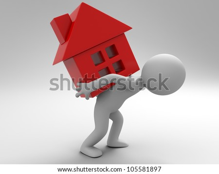 relocate/A man carrying a house - stock photo