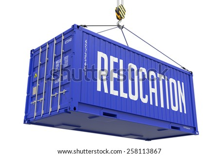 Relocation - Blue Cargo Container Hoisted by Hook, Isolated on White Background. - stock photo