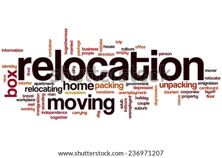 Relocation word cloud concept - stock photo