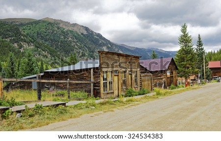 Remaining buildings in the silver mining quasi-ghost town of St. Elmo near Buena Vista, Colorado, U.S.A.  - stock photo