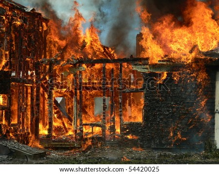 remaining house from fire - stock photo