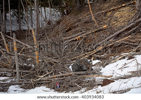 Remains of an avalanche on the slopes of Mt. Fuji, Japan - stock photo
