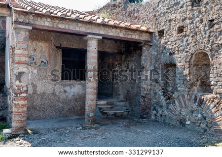 Remains of casa di apollo in Pompeii. Pompeii was destroyed and buried with ash and pumice after Vesuvius eruption in 79 AD. - stock photo