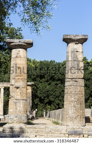Remains of Corinthian column in Olympia, Greece - stock photo