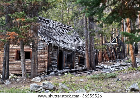 Remains of homes found in the ghost town of Coolidge, Montana - stock photo