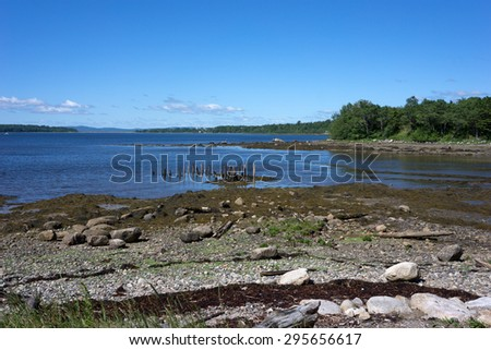 Remains of old shipping port in Stockton Springs, Maine. - stock photo