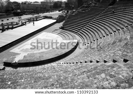 Remains of the Ancient Theater of Fourviere in Lyon, France. - stock photo
