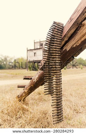 Remains of the bullet and the background of the ruins. - stock photo