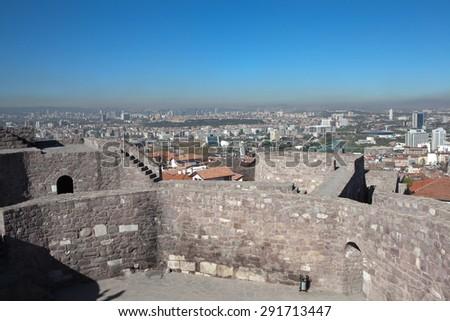 Remains of the eastern tower (?ark Kulesi) fortress Hisar. Ankara. Turkey. - stock photo