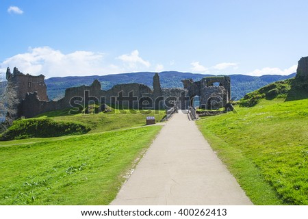 Remains of the Gatehouse of Urquhart Castle in Loch Ness in Scotland. Loch Ness is a city in the Highlands in Scotland in the United Kingdom. - stock photo