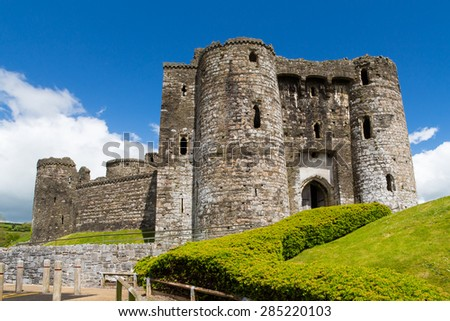 Remains of the Norman Kidwelly Castle Carmarthenshire Wales UK Europe - stock photo