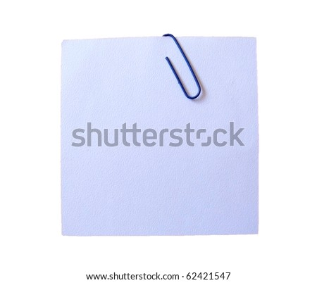 reminder note with paper clip - stock photo