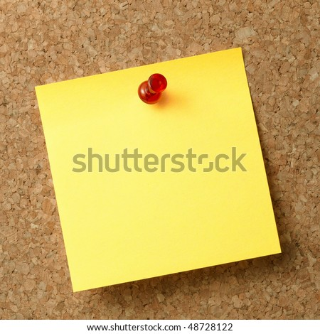 Reminder note with red pin on news-board. - stock photo