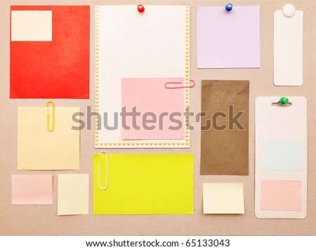 reminder notes on the bright color paper - stock photo
