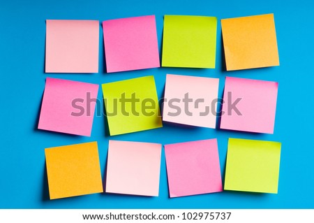 Reminder notes on the bright colorful paper - stock photo