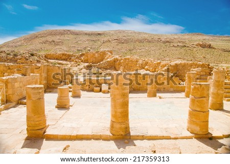 Remnants of basilica in the ruined Nabathean city of Mamshit (Memphis) in Negev Desert, Israel - stock photo