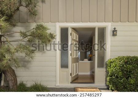 Remodeled glass entry door.  - stock photo