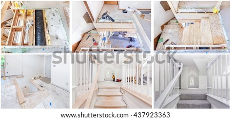 Remodeling a staircase with new landing and custom railings - stock photo