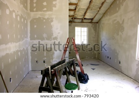 Remodeling - New Sheetrock, Drywall - stock photo