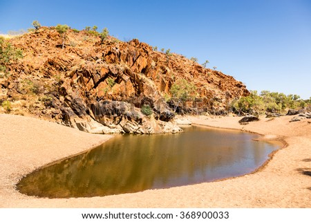 Remote and peaceful Mary Pool near Mary River. Nearest big town is Fitzroy Crossing. - stock photo