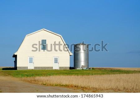 remote barn and silo - stock photo