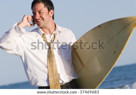 Remote Conference Call at the Beach - stock photo