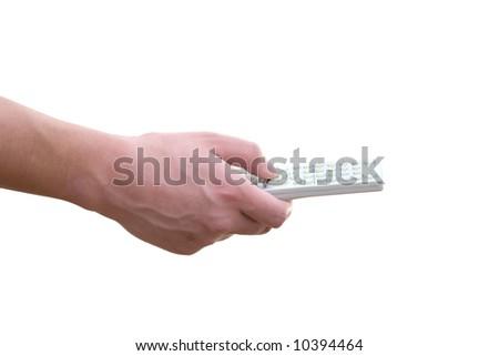 remote control in a hand - stock photo