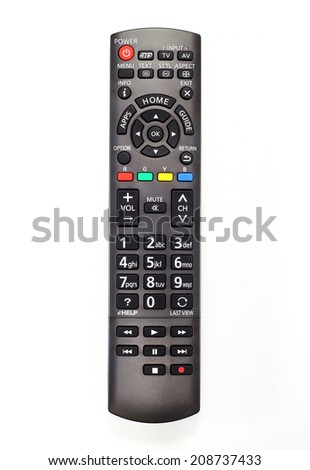 remote control of smart TV on white background - stock photo