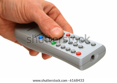 remote control panel by the TV (focus in front part) - stock photo