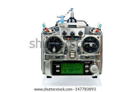 Remote control (RC) for helicopters and airplanes isolated on white background - stock photo