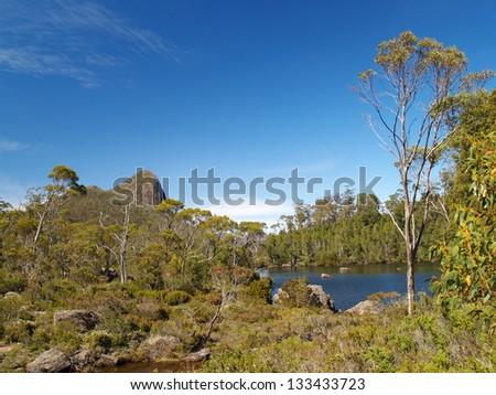 Remote lake in Tasmania - stock photo