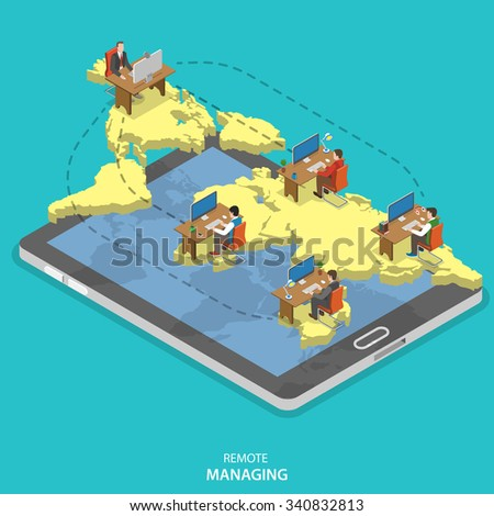 Remote managing isometric flat concept. Isometric model of earth continents are hovering over the tablet with manager and group of employees on it. Cloud office, outsourcing, distant work. - stock photo