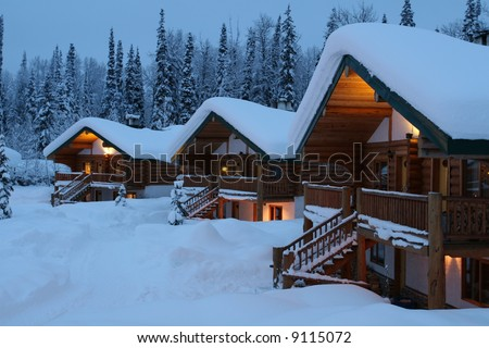 Remote Mountain Chalet's At Dusk - stock photo