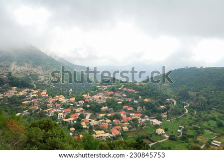 Remote village of Eglouvi in the mountains of greek island of Lefkada - stock photo