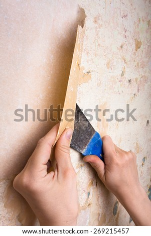 removal of wallpapers with spatula  - stock photo