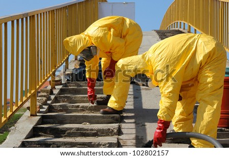 Removing of dangerous materials - stock photo