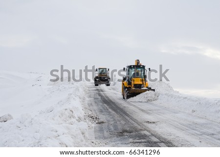 Removing Snow From Road - stock photo