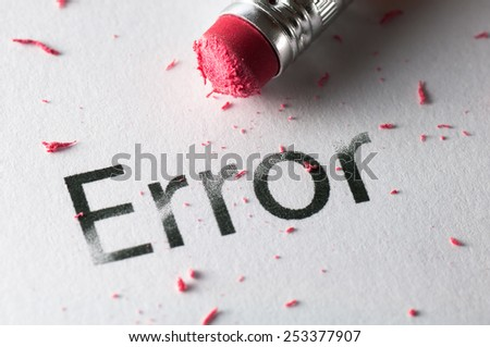 Removing word with pencil's eraser, Erasing Error - stock photo