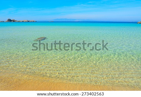 Rena Bianca shore on a clear day, Sardinia - stock photo