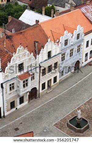 Renaissance buildings in Slavonice, Czech Republic - stock photo